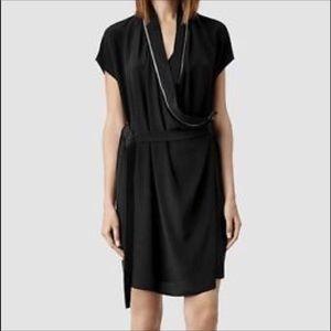 Allsaints 100% silk faux wrap belted black dress